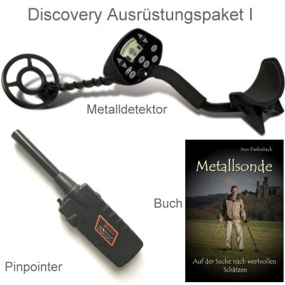 Metalldetektor Ausrüstungspaket Discovery 3300 mit Black Huntmate Pinpointer