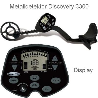 Discovery 3300 Basispaket (Metalldetektor & Black Huntmate Pinpointer & Schatzsucherhandbuch)