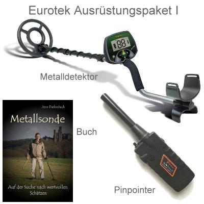 Metalldetektor Ausrüstungspaket Teknetics Eurotek mit Black Huntmate Pinpointer