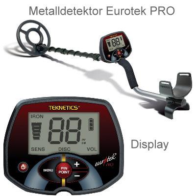 Teknetics Eurotek PRO (LTE) Basispaket (Metalldetektor & Black Huntmate Pinpointer & Schatzsucherhandbuch)