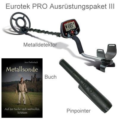 Metalldetektor Premium Ausrüstungspaket Teknetics Eurotek PRO (LTE) mit Deteknix Xpointer Pinpointer